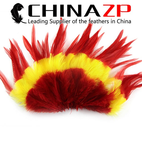 NO.1 Leading CHINAZP 12.5~15cm(5~6inch) 100Pcs/lot High Quality Dyed Mixed Red and Yellow Rooster Saddle Feathers