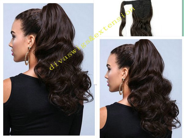 Long Human Hair Ponytail virgin Malaysia hair clip in Drawstring dark brown color 2 wrap around wavy Ponytails hairpiece 8A grade 10-22inch