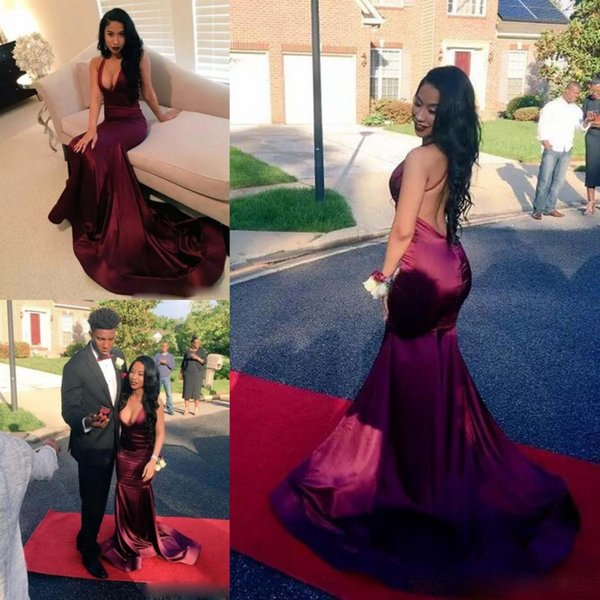 Hot Sexy Dark Red Prom Dresses 2k17 Halter Backless Mermaid Celebrity Evening Gowns Sweep Train Deep Neckline Cocktail Party Dress