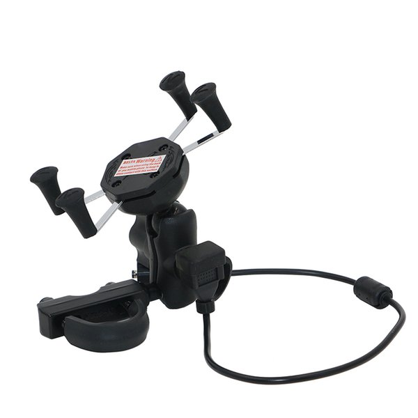 Universal Cell Phone Holder Phone Mount Small X-Grip For Motorcycle Or Bicycle Handlebar And Mirror Clamp With USB Charger KPH-SX-6-U USB