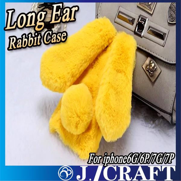 Luxury Diamond Long Rabbit Ears Fur Plush Phone Case For iphone 6/6s 6splus/6plus iphone 7 7plus