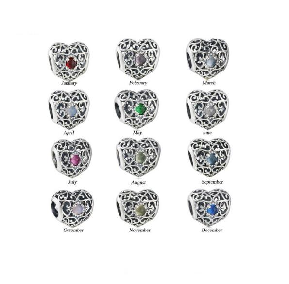 TopeasyJewelry 925 Sterling Silver 12 Colors Birthstone Charm Bead Fit Brand Charms Bracelets Antique Openwork Heart Crystal Beads