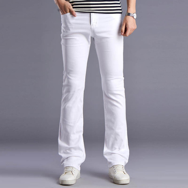 Wholesale-Men New White Designers Flare Jeans Pants Fashion Casual Mens Wide Leg Bell Bottom Jeans Men's Stretched Slim Denim Trousers