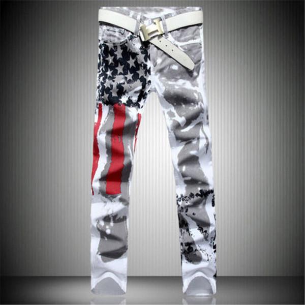 Wholesale- 2017 New Arrival Men Casual American USA Flag Printed Jeans Pants Mens Graffiti Print white hip-hop fashion Jeans