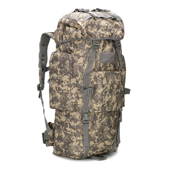 Wholesale- new 65L large capacity mountaineering bag camping outdoor bag hiking waterproof cover camouflage backpack Fishing Bag