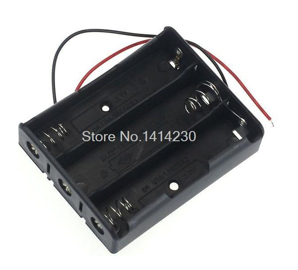Wholesale- Plastic 3 Way 18650 Battery Storage Case Box Holder for 3x 18650 Batteries with Wire Leads 11.1V