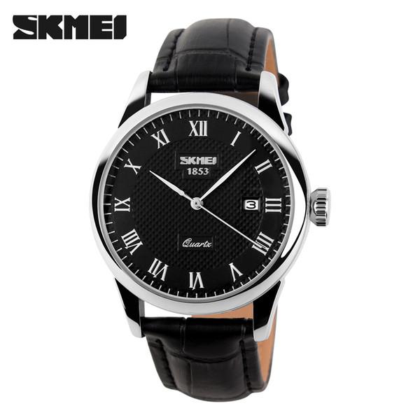 Al por mayor- Skmei hombres deportes lujo genuino pantorrilla dama relojes de cuero de negocios y reloj de pulsera de cuarzo casual con fecha automática nuevo 2017 9058