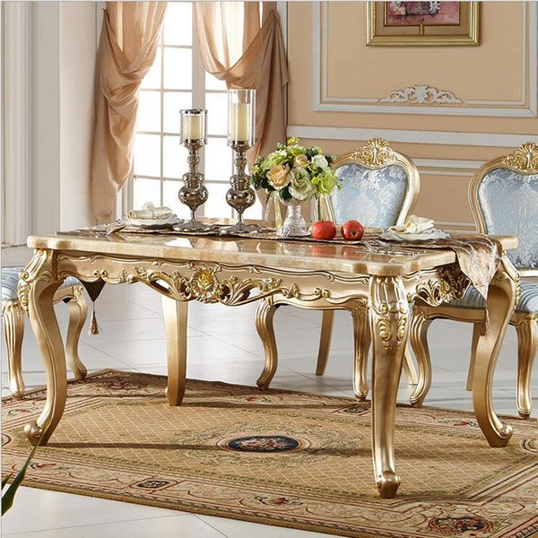 Antique Style Italian Dining Table, 100% Solid Wood Italy Style Luxury marble Dining Table Set p10096