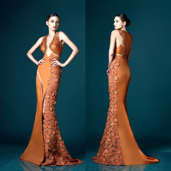 Charming Ochre Colored Prom Dresses Plunging Neckline Appliques Sleeveless Red Carpet Dress 2017 Sexy Pretty Woman Mermaid Evening Gowns