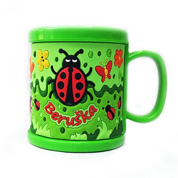 All'ingrosso-Nuovo arrivo di plastica elegante tazze di latte tazze verde in rilievo insetti bicchiere d'acqua simpatici tazze con coperchi bicchieri articoli da regalo tazze
