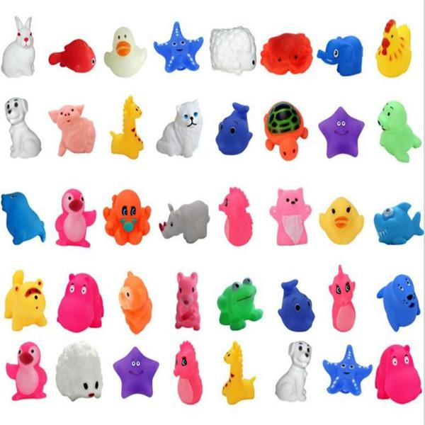 Baby Bath Toys Water Floating Dolls Animal Cartoon Swim Yellow Ducks Starfish Children Swiming Beach Evade Glue Toy Kids Gifts
