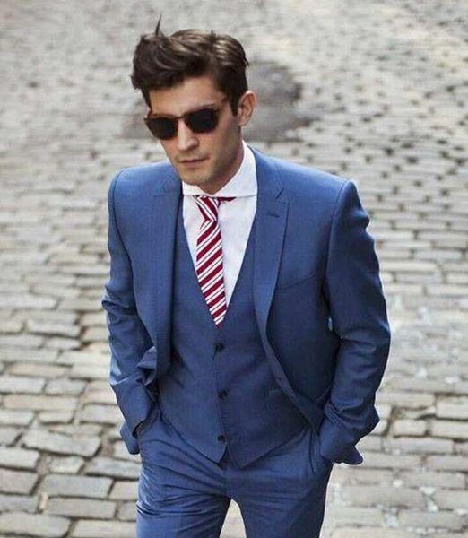 Handsome 2017 Dark Blue Custom Made Trajes de Boda para Hombres Novios Tuxedos Padrinos de Boda Para Hombre Trajes de Boda Trajes de Tres Piezas (Chaqueta + Pantalones + Chaleco)