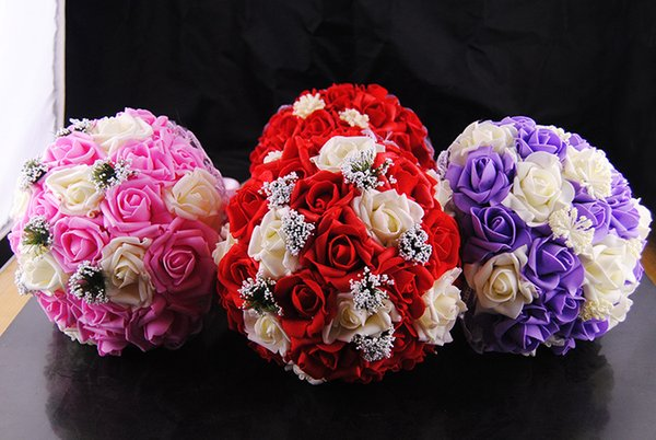 Wholesale Blue Pink Wedding Bouquets Lace Rhinestones Turquoise