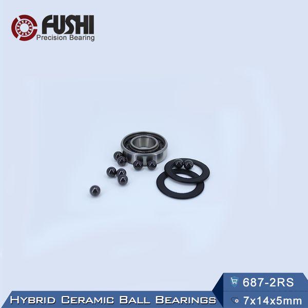 Si3N4 Ball Bearings 687RS 1 PC 687 Hybrid Ceramic Bearing  7*14*5 mm  ABEC-1