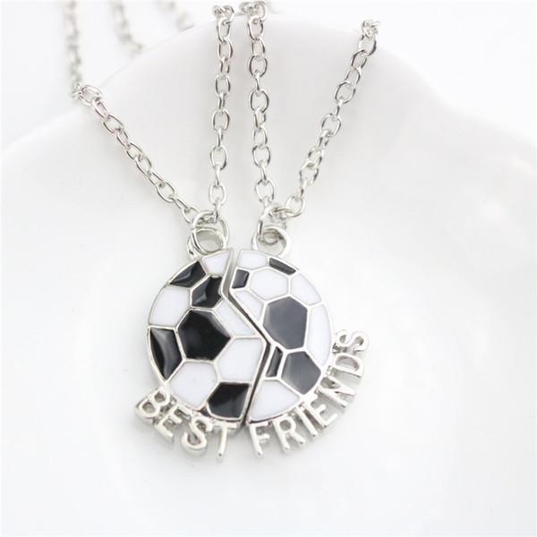 Bijoux de mode 2pc / Set colliers meilleurs amis balle pendentif colliers en argent plaqué amitié long alliage colliers