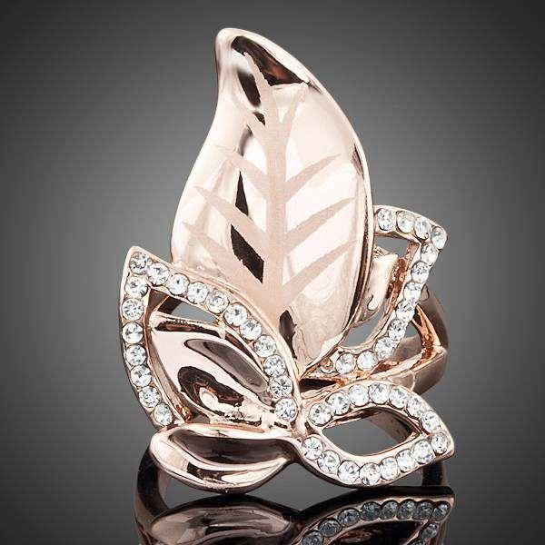 Neoglory Jewelry 18K Real Gold Plated Swarovski Elements Gold Color Stellux Gorgeous Austrian Crystal Gold Leaves Design Ring