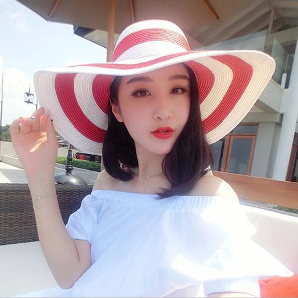 Hot new 2017 brand caps girl summer straw hat beach sun hats for women Sexy vogue ladies large brim women fan sombrero
