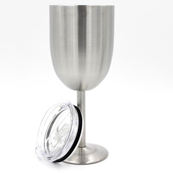 New 10oz Stainless Steel Wine Glass Double Wall Insulated Metal Goblet With Lid Tumbler Red Wine Mugs OTH382