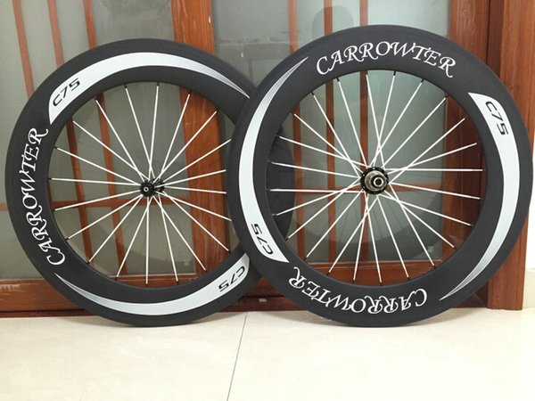 White logo 700c 88mm CARROWTER C75 carbon road bike wheels with 23mm width 6 kinds of hubs free shipping