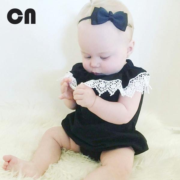 Freies Verschiffen Kind-Sommerbaby-Bodysuits Baumwollspitze-Schwarz-Sleeveless Bodysuits 0-2 Jahre Babykleidung weibliche Babykleidung