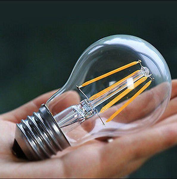 Ampoule à filament à LED Vintage A19 - ampoule à LED 10W, culot moyen à vis E26, blanc doux transparent 2700K, ampoule LED Edison équivalente à 100W, 120Vca,
