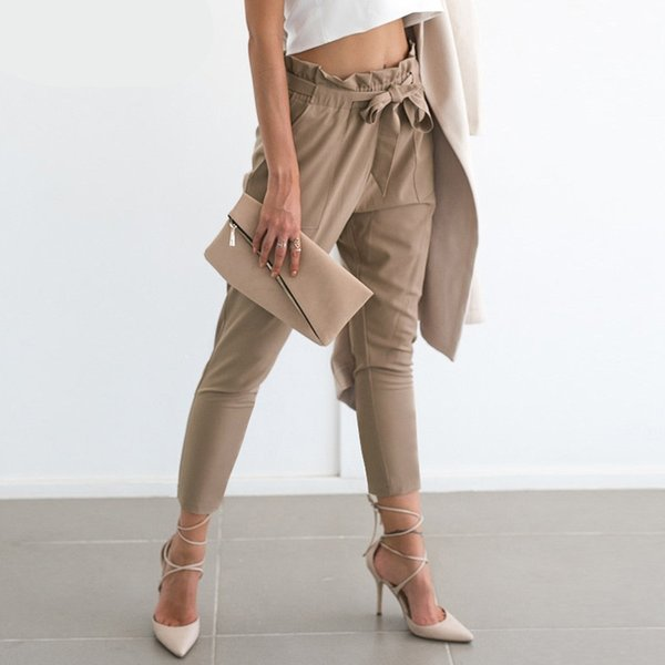 top popular 2019 Summer Women Apparel OL Chiffon High Waist Harem Pants Ankle Length Summer Fashion Style Casual Pants Female Trousers XL 2019