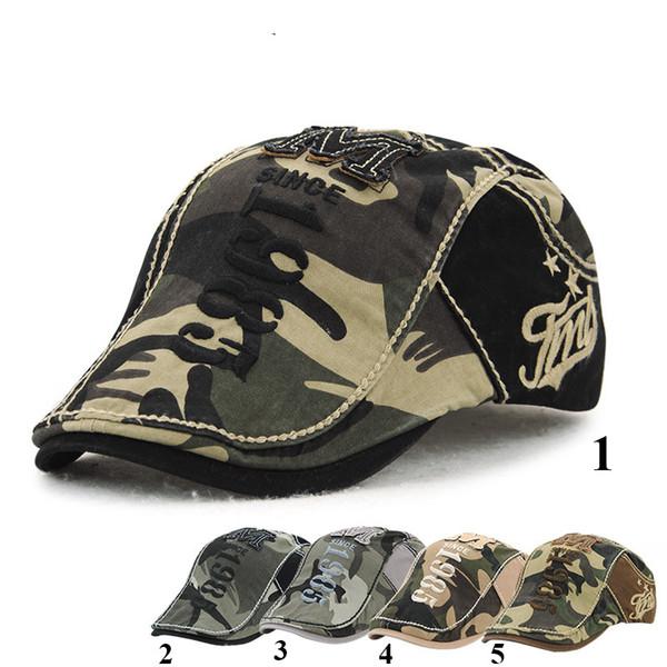 Chapéus unisex da boina da camuflagem do verão da mola para mulheres e boné da viseira dos homens