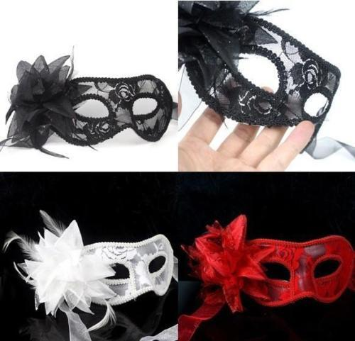 hot sale sexy Black white red Women Feathered Venetian Masquerade Masks for a masked ball Lace Flower Masks 3colors