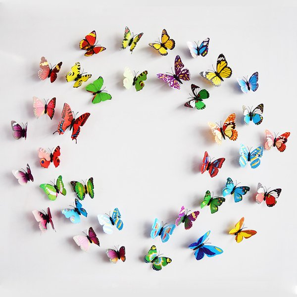 Brand New 12PCS 3D PVC Magnetic DIY Butterflies Home Room Wall Sticker Decor With Double Side Glue Fridge Magnet Free Shipping Hot Sales