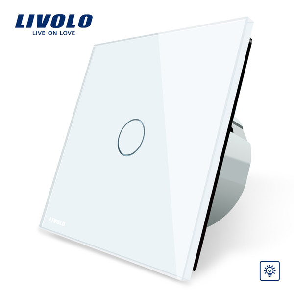 Livolo EU Standard Dimmer Switch, Wall Switch, Crystal Glass Panel, 1 Gang 1 Way Dimmer,VL-C701D-1/2/3/5