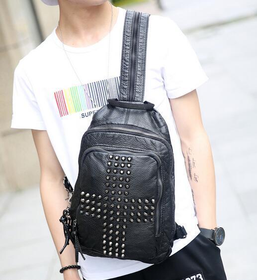 Factory wholesale brand bag Men street style multifunctional men chest Pack Backpack leisure men Korean rivet rivet Leather Shoulder Bag