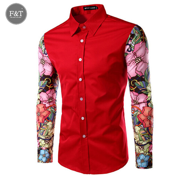 Wholesale- [Asian size] Brand Men Shirt Slim Fit Casual Arm sleeve Floral print Shirts Fashion Men's Clothing Casual Camisa Masculina