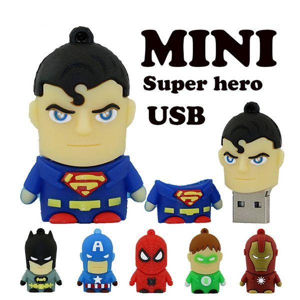 Special offer Cartoon Pendrive USB Flash Drive Super Hero U disk America Captain Superman Spiderman Batman pen drive 4GB 8GB 16GB 32GB 64GB