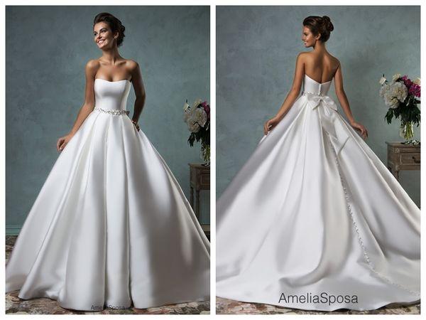 2019 Wedding Dress Amelia Sposa Lace Ball Gown Wedding Dresses Bridal Gowns Vestido De Novia Satin Backless Crystal Waistband Bow Sweetheart
