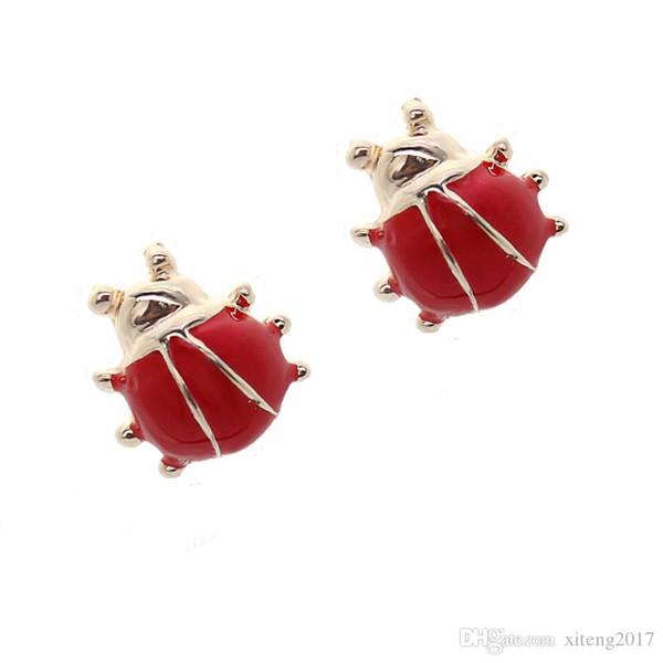 Cute 1cm red ladybug stud earrings cheap price fashion jewelry for girls women korean style jewellery new styal 2017