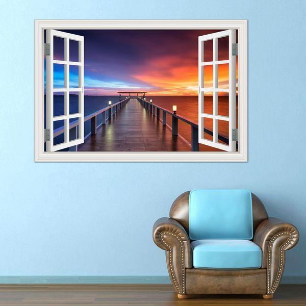 3D Window View Wall Decal Sticker Home Decor Living Room Wood Bridge Seaside Sunset Beautiful Scenery Wallpaper Murals Art PVC