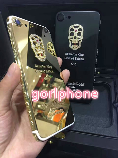 Real Gold skeletonPlating Back Housing Cover Skin Battery Door For iPhone 7 7+ Luxury Gold Plating Chromed Frame Clear Mobile Phone Case