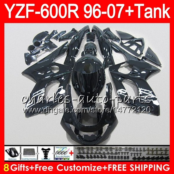8Gift 23Color para YAMAHA YZF600R Thundercat 96 97 98 99 00 01 53HM21 YZF-600R negro brillante YZF 600R 1996 1997 1998 1999 2000 2001 Kit de carenado