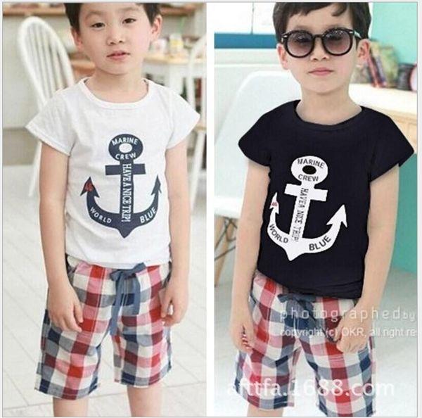 2017 New Summer Boys Navy Style Clothing Sets Children Short Sleeve T-shirt+Plaid Shorts 2pcs Set Kids Casual Outfits Boy Suit 100-140cm