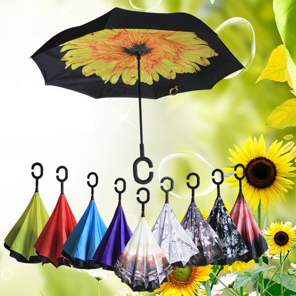top popular 64 Patterns Design Inverted Umbrella Sunny Rainy Umbrella Reverse Folding Windproof Inverted Umbrellas With C Handle Double Layer YM001 2021