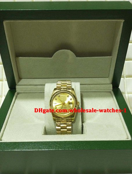 Christmas gift swiss Luxury watches Original box certificate Mens 18kt Gold President CHAMPAGNE Diamond 118238 SANT BLANC