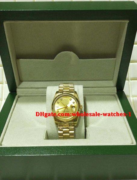 Regalo di Natale svizzero Orologi di lusso Scatola originale certificato Uomo Oro 18kt Presidente CHAMPAGNE Diamante 118238 SANT BLANC