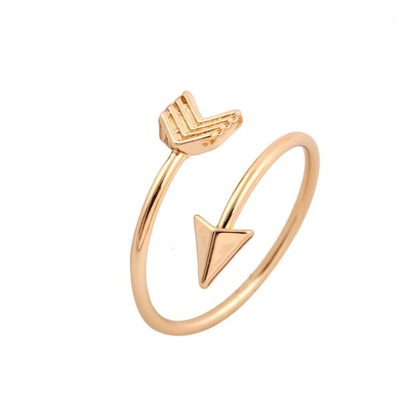 Cute 18K Gold Plated Tiny Arrow Finger Ring Women Men Classic Adjustable Aneis Boho Beach Vntage Party Jewelry Gift Free Shipping