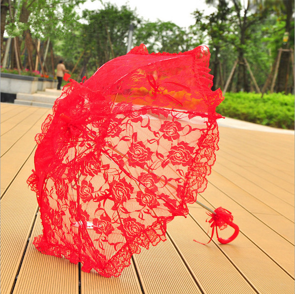 Red Bridal Wedding Parasols Lace Embroidery Umbrella Stage Performance Party Gifts Souvenir Party Decoration Photography Props Umbrellas