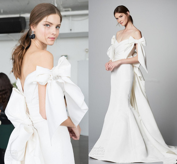 elegant chic mermaid wedding dresses 2018 marchesa bridal off the shoulder v neck wrap over bodice open back ribbon chapel train