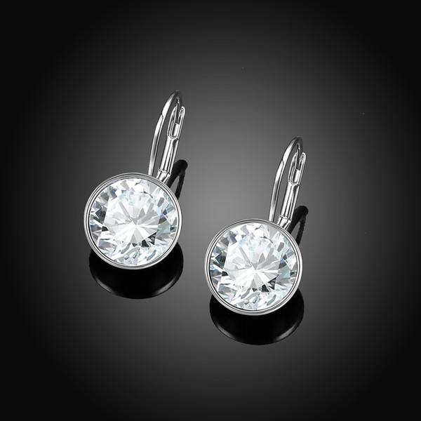 best selling Rose Gold Color Bella Earrings For Women White Crystal From Swarovski Fashion Stud Earrings Party Jewelry Accessories