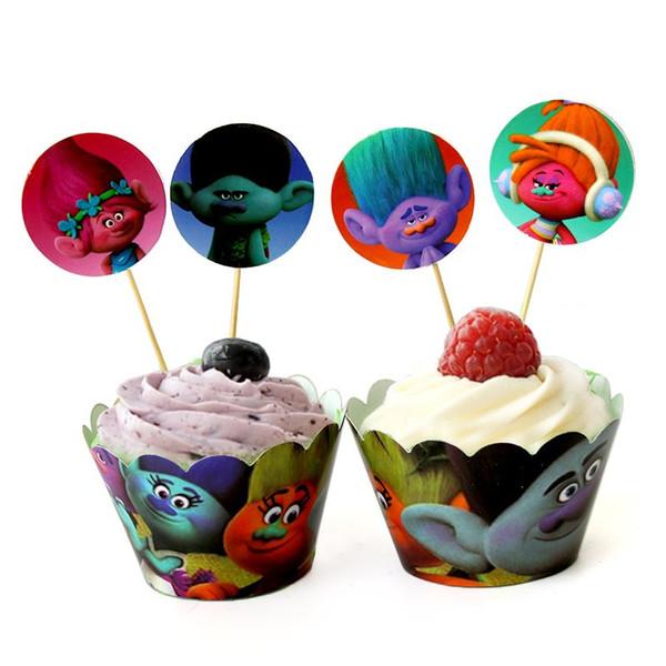 24pcs \ lot Baby Shower Paper Cake Toppers favores de los niños Trolls Cupcake Wrappers Feliz cumpleaños fiesta de dibujos animados suministros de decoración
