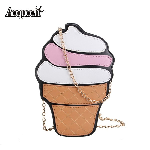 Wholesale-Cute Women Cupcake Ice Cream Shape Crossbody Bags New Cartoon Fashion Chain PU Leather Ladies Small Mini Shoulder Bag Feminine