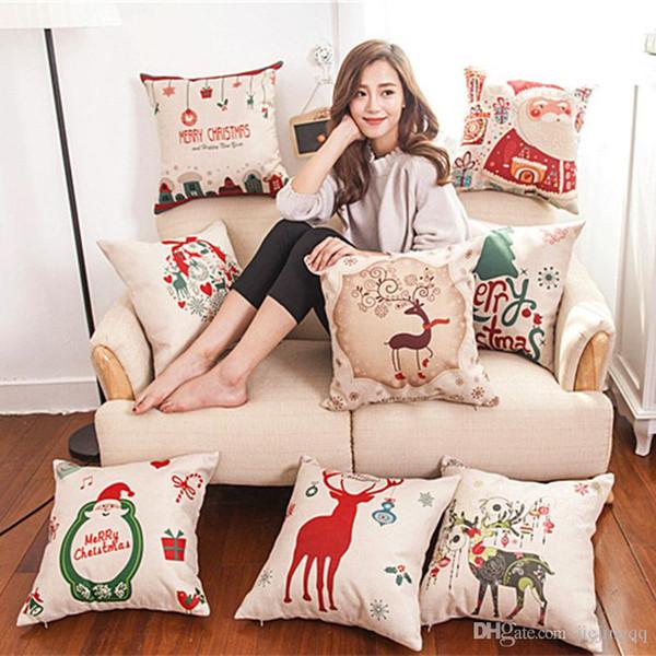Nuova federa di lino di Natale Custodia federa di Babbo Natale Snowman cuscino singolo 43cm * 43cm 8style può scegliere la custodia del divano