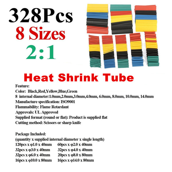328Pcs 8 Sizes Assortment 2:1 Ratio Heat Shrink Tube Tubing Sleeve Wrap Wire Cable Kit Set Electric Insulation